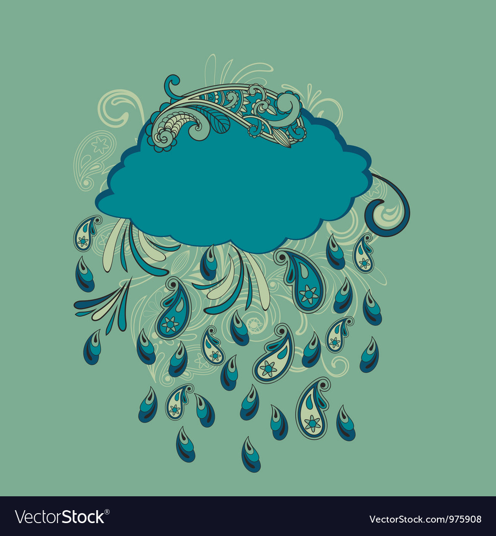 Blue cloud with paisley rain vector | Price: 1 Credit (USD $1)