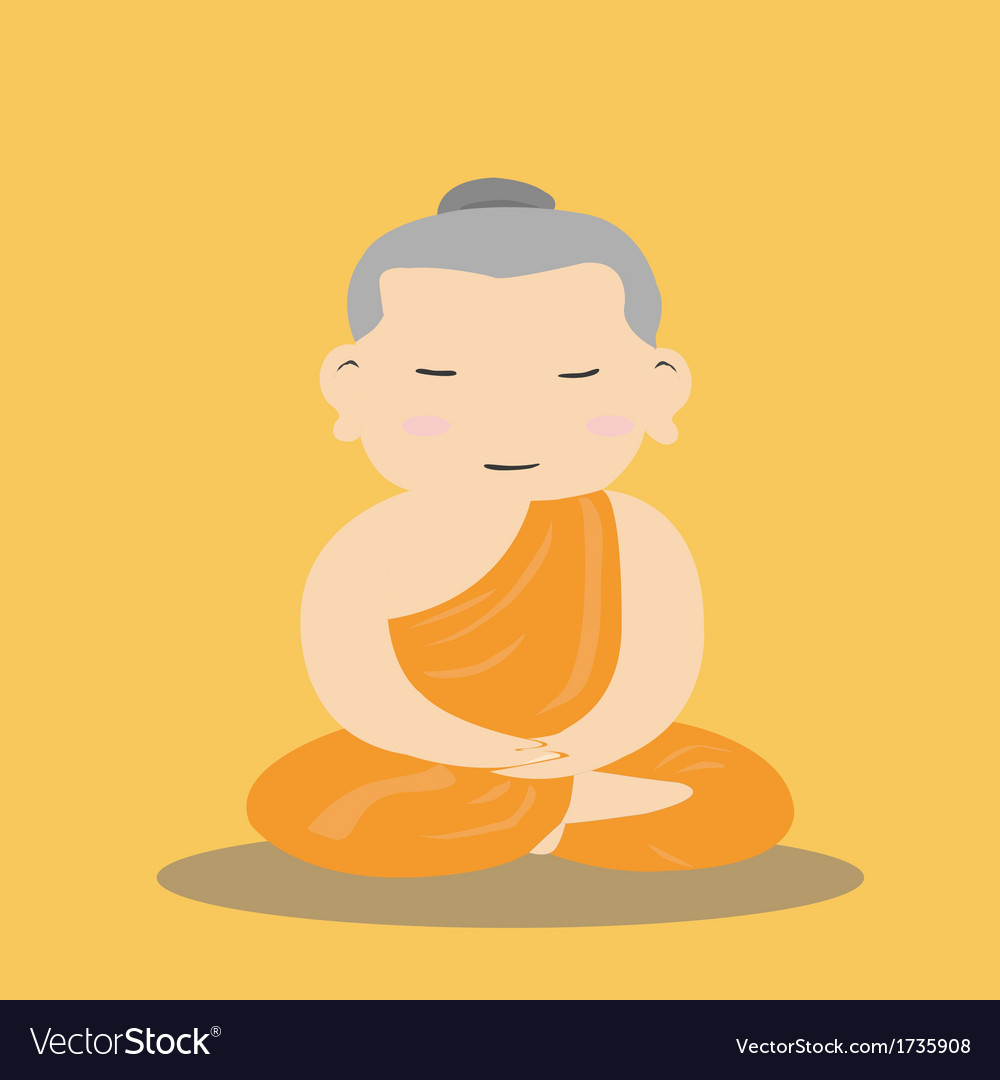 Buddhist monk cartoon vector | Price: 1 Credit (USD $1)