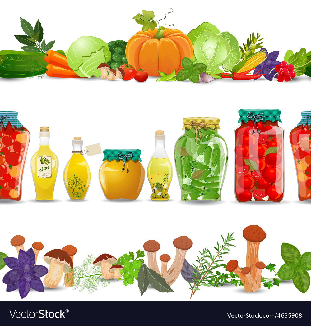 Collection seamless borders with preserve food vector   Price: 3 Credit (USD $3)