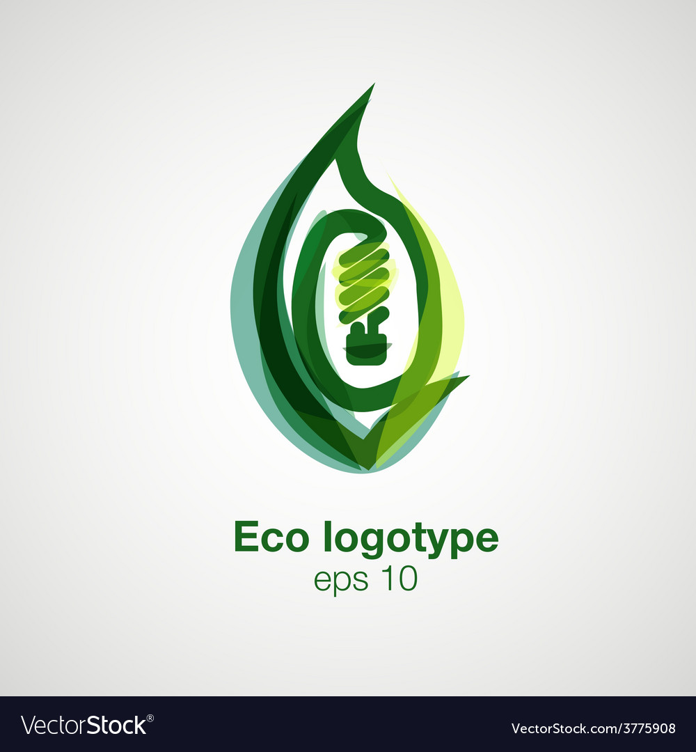 Eco logotype bulb in leaf concept vector | Price: 1 Credit (USD $1)