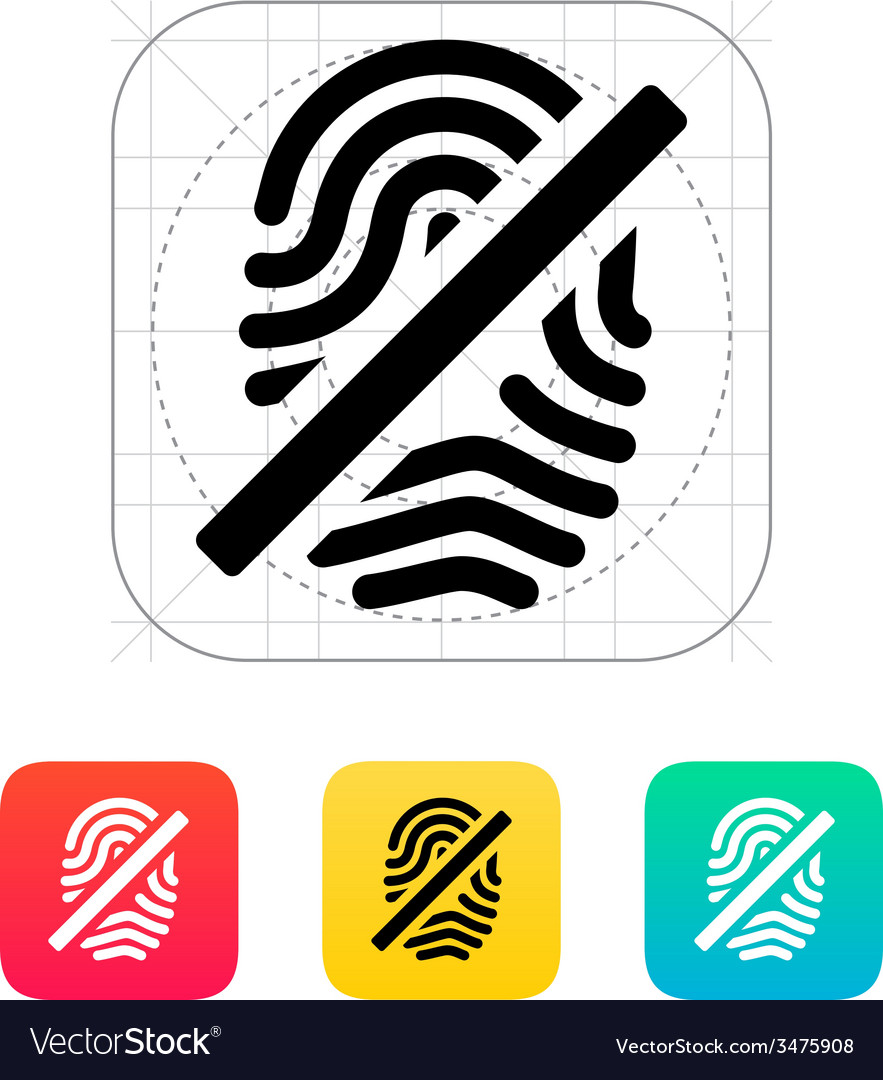 Fingerprint rejected icon vector | Price: 1 Credit (USD $1)