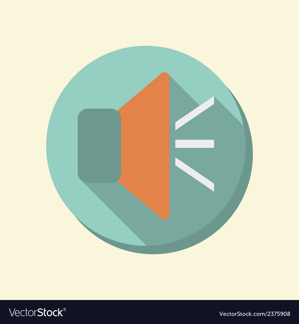 Flat circle web icon loudspeaker vector | Price: 1 Credit (USD $1)