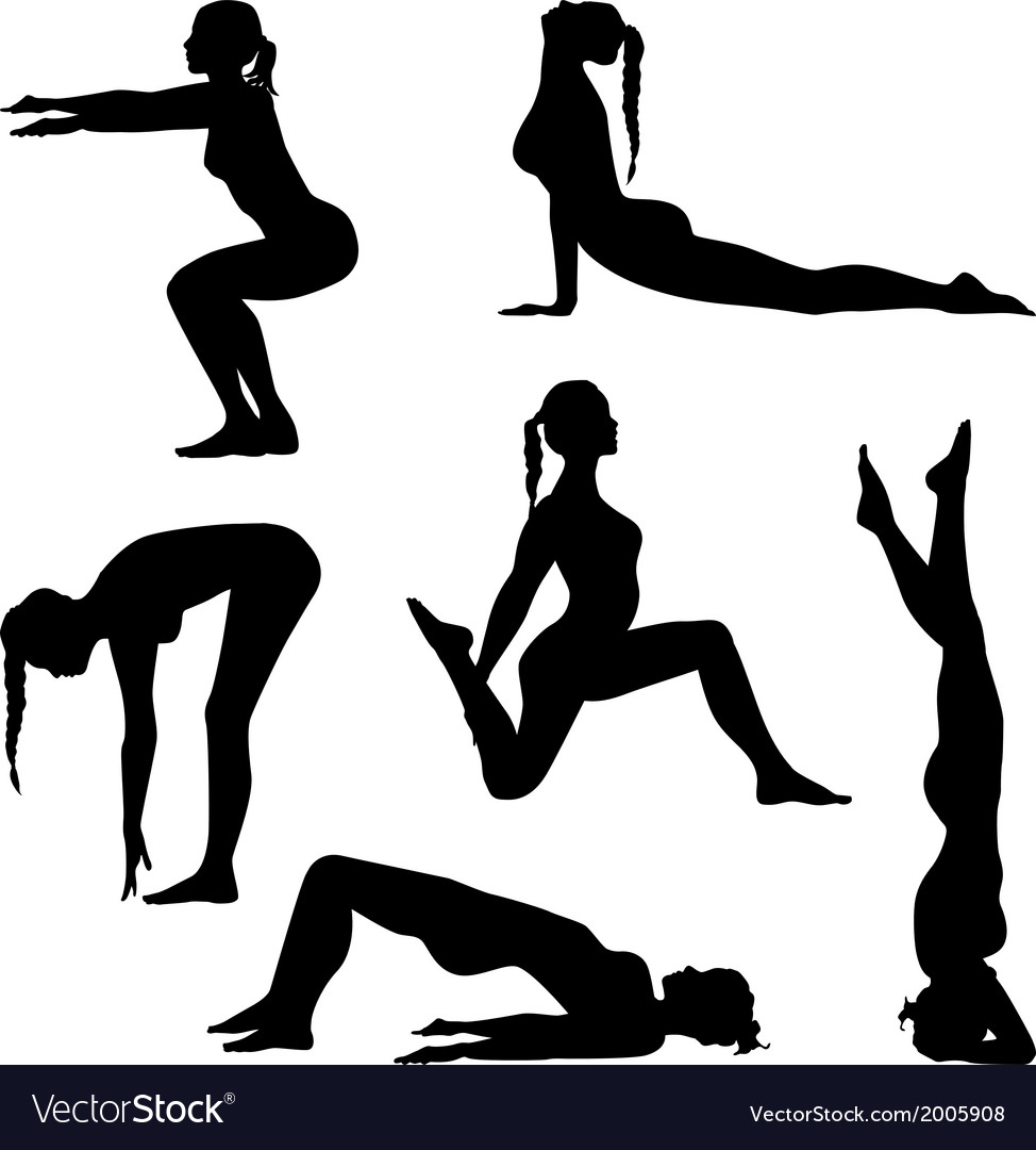 Girls are making exercises vector | Price: 1 Credit (USD $1)