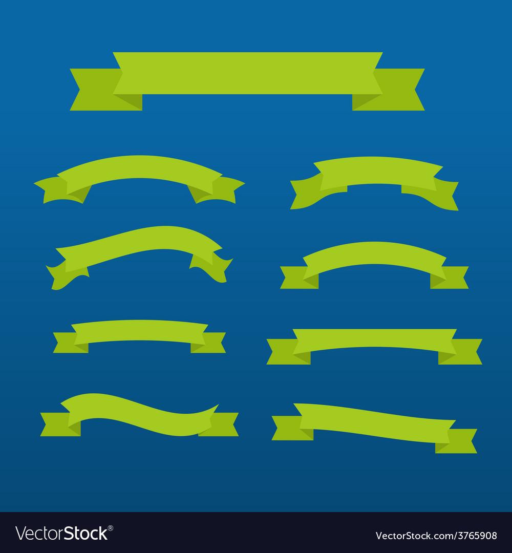 Green ribbons set vector | Price: 1 Credit (USD $1)