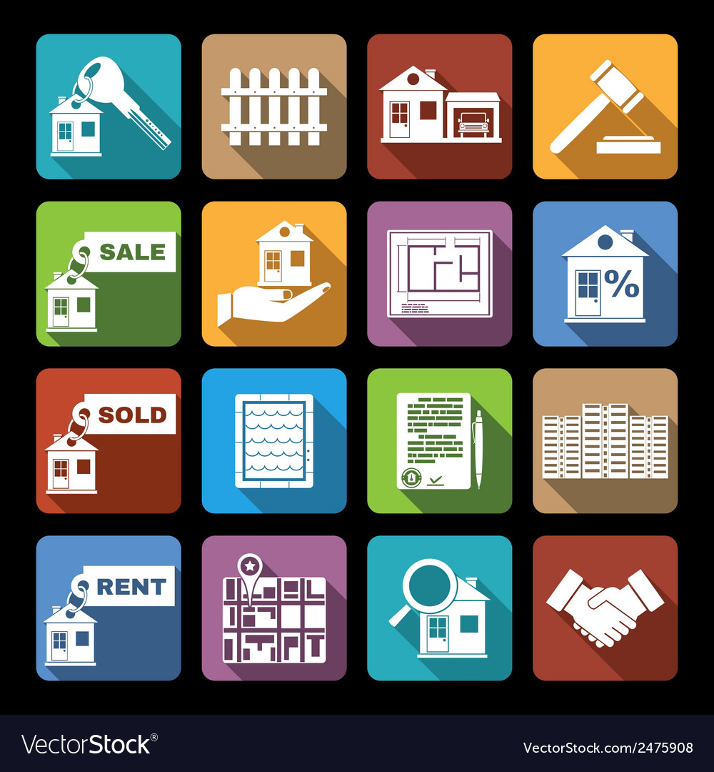 Real estate icons flat vector | Price: 1 Credit (USD $1)
