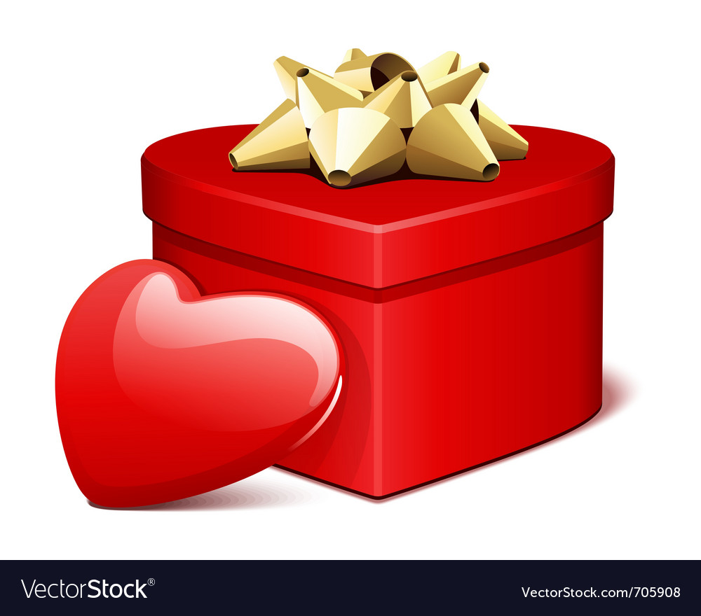 Red shiny heart gift with heart present vector | Price: 1 Credit (USD $1)