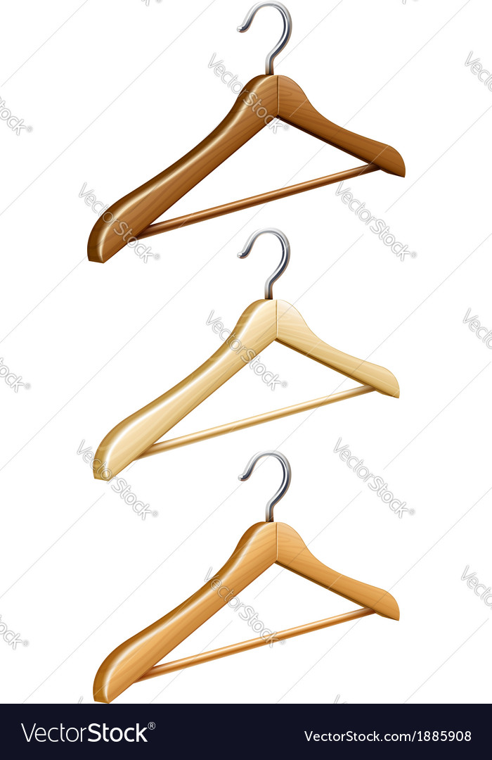 Set of wooden coat hangers vector | Price: 1 Credit (USD $1)