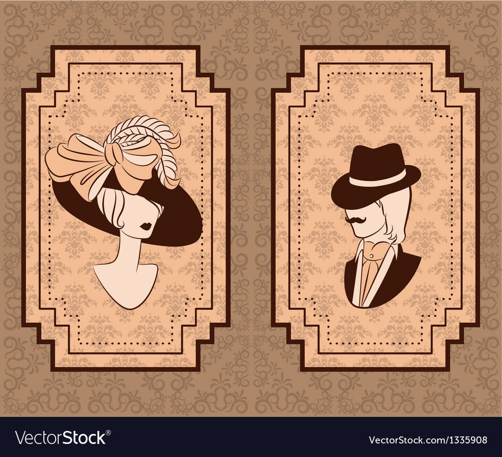 Vintage man and woman vector | Price: 1 Credit (USD $1)