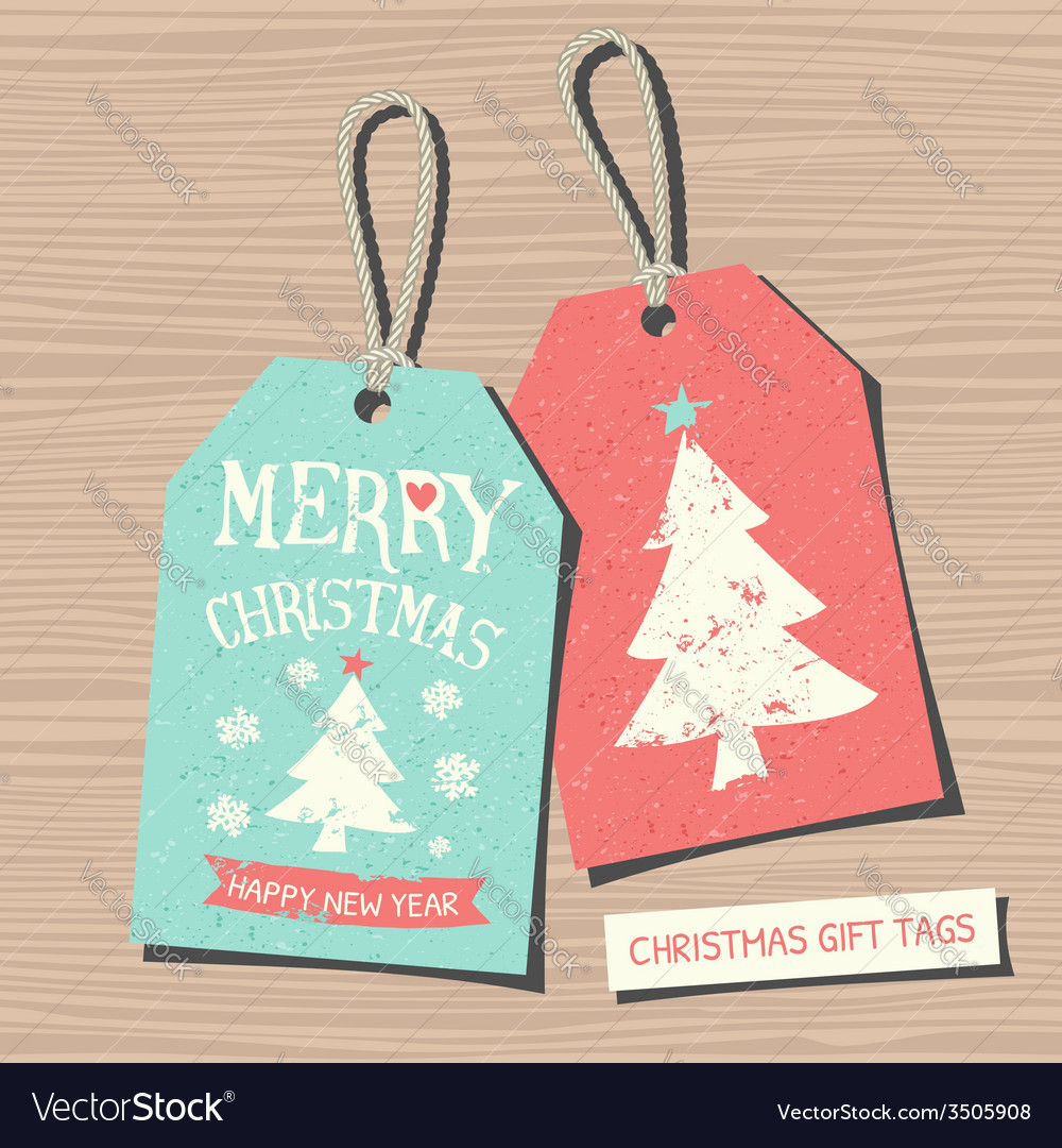 Vintage style christmas gift tags in red and blue vector | Price: 1 Credit (USD $1)