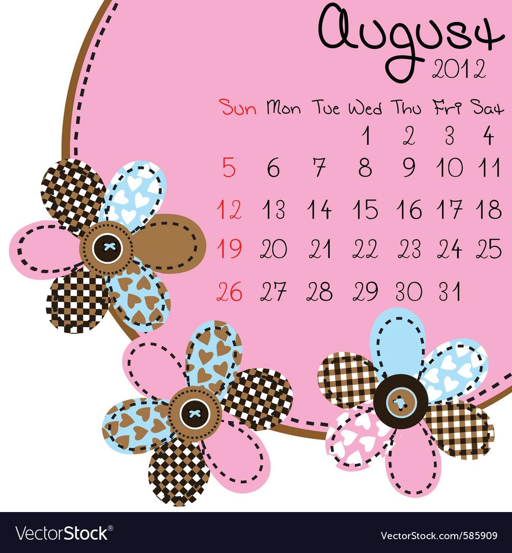 2012 august calendar vector | Price: 1 Credit (USD $1)