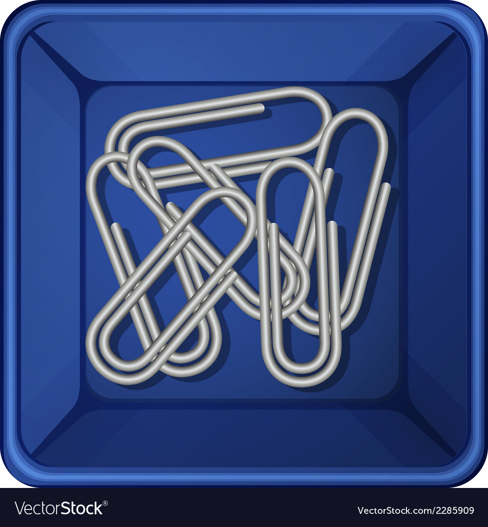 A topview of the paperclips inside a container vector   Price: 1 Credit (USD $1)