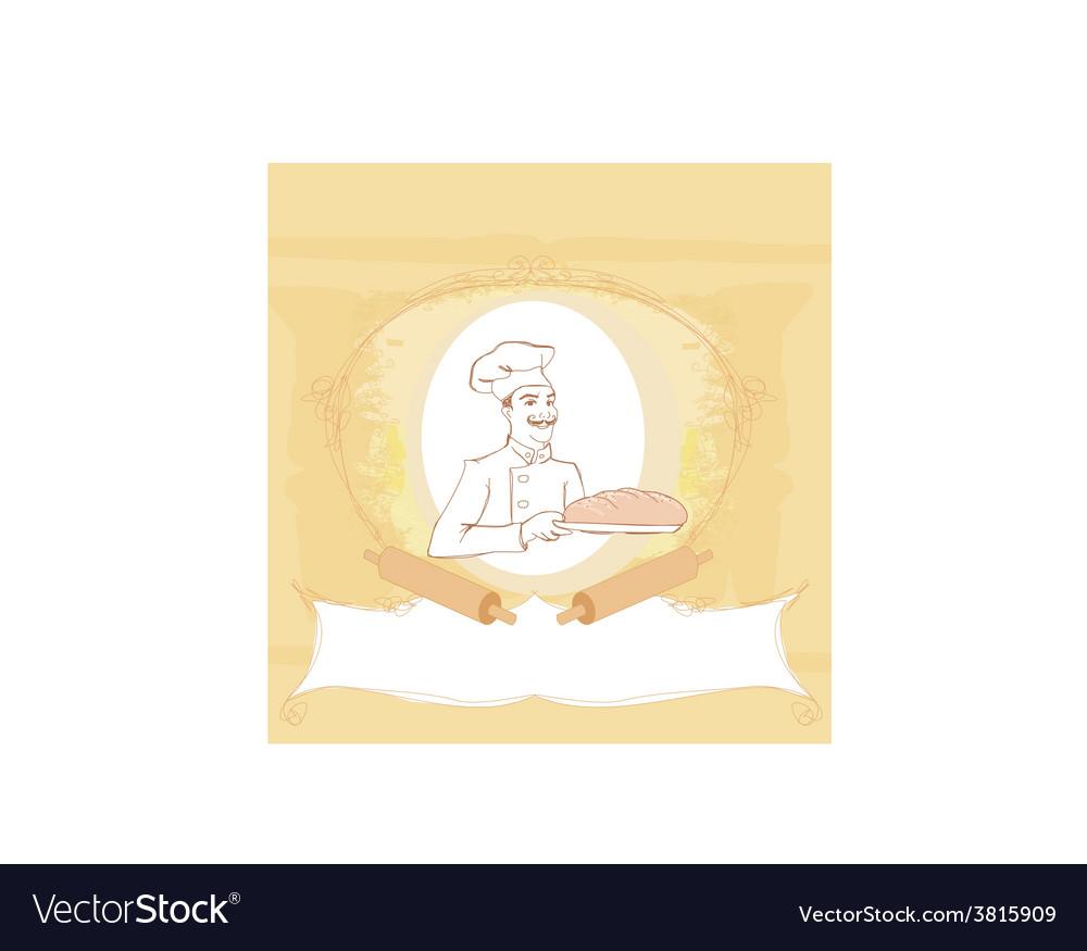 Baker cartoon character presenting freshly baked vector | Price: 1 Credit (USD $1)