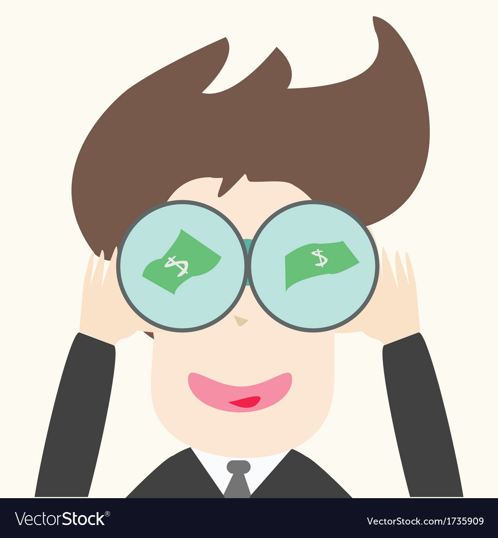 Businessmen find money through telescope vector | Price: 1 Credit (USD $1)