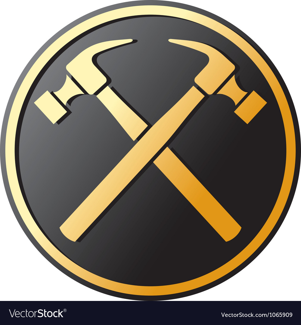 Crossed hammer symbol vector | Price: 1 Credit (USD $1)
