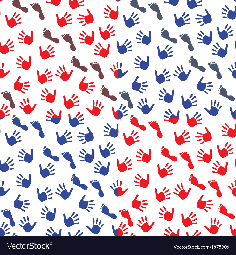 Four seamless pattern with hands and feet imprints vector | Price: 1 Credit (USD $1)