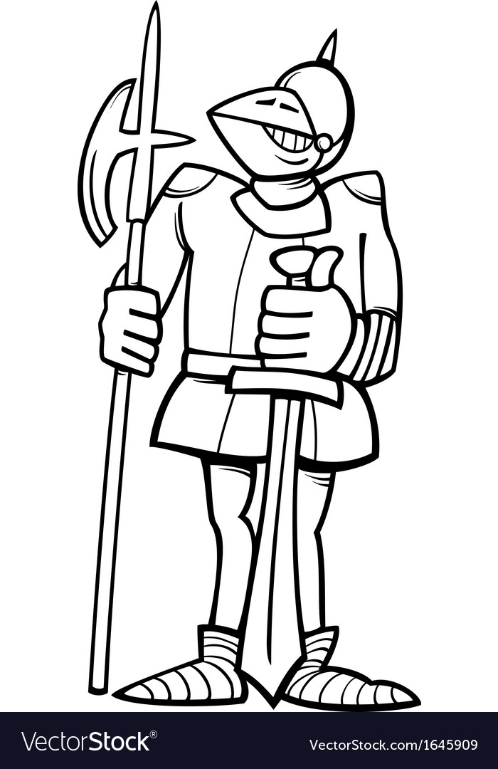 Knight in armor cartoon coloring page vector | Price: 1 Credit (USD $1)