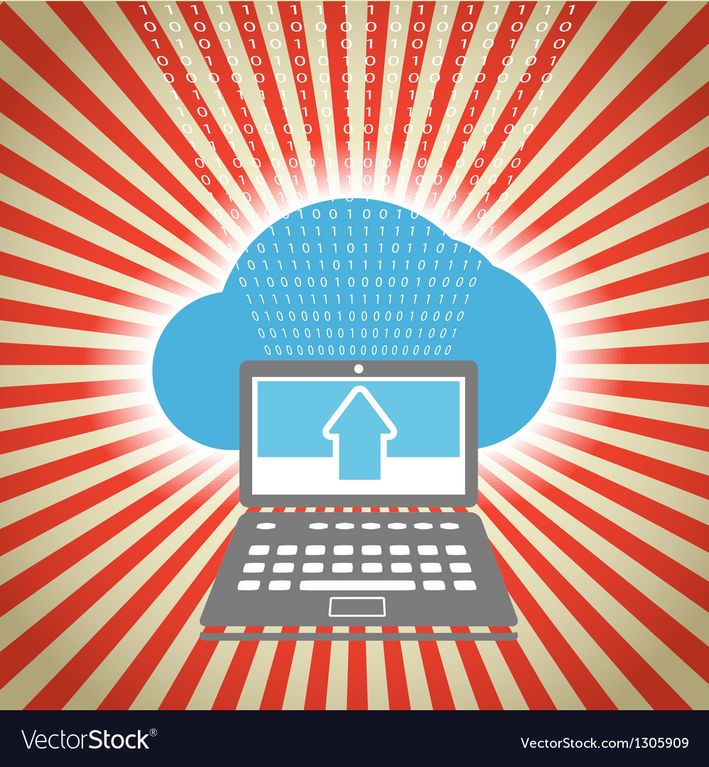 Laptop with stripes and blue cloud vector | Price: 1 Credit (USD $1)