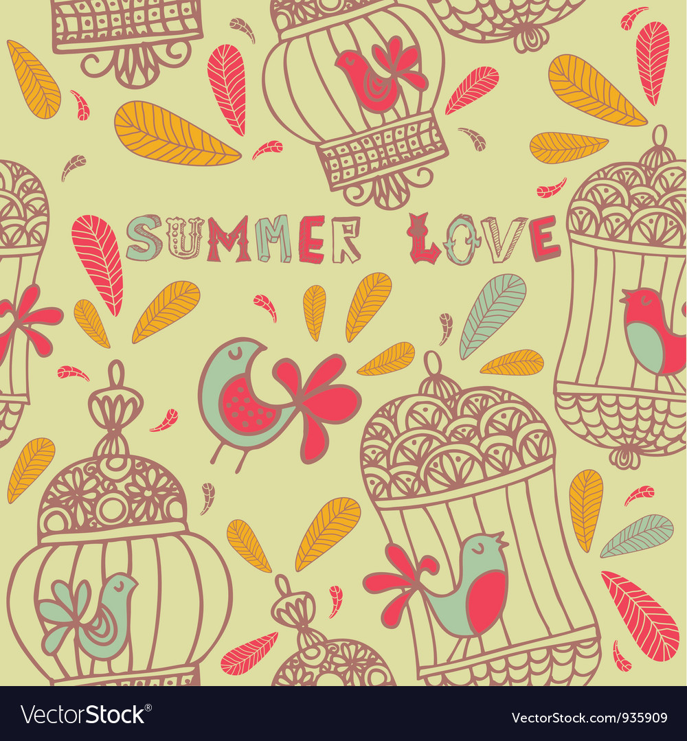 Retro summer love birds pattern vector | Price: 1 Credit (USD $1)