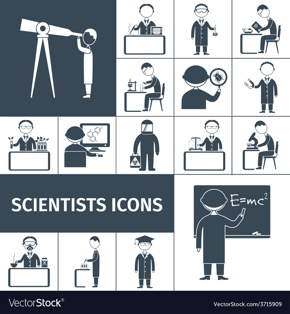 Scientist icons black vector | Price: 1 Credit (USD $1)