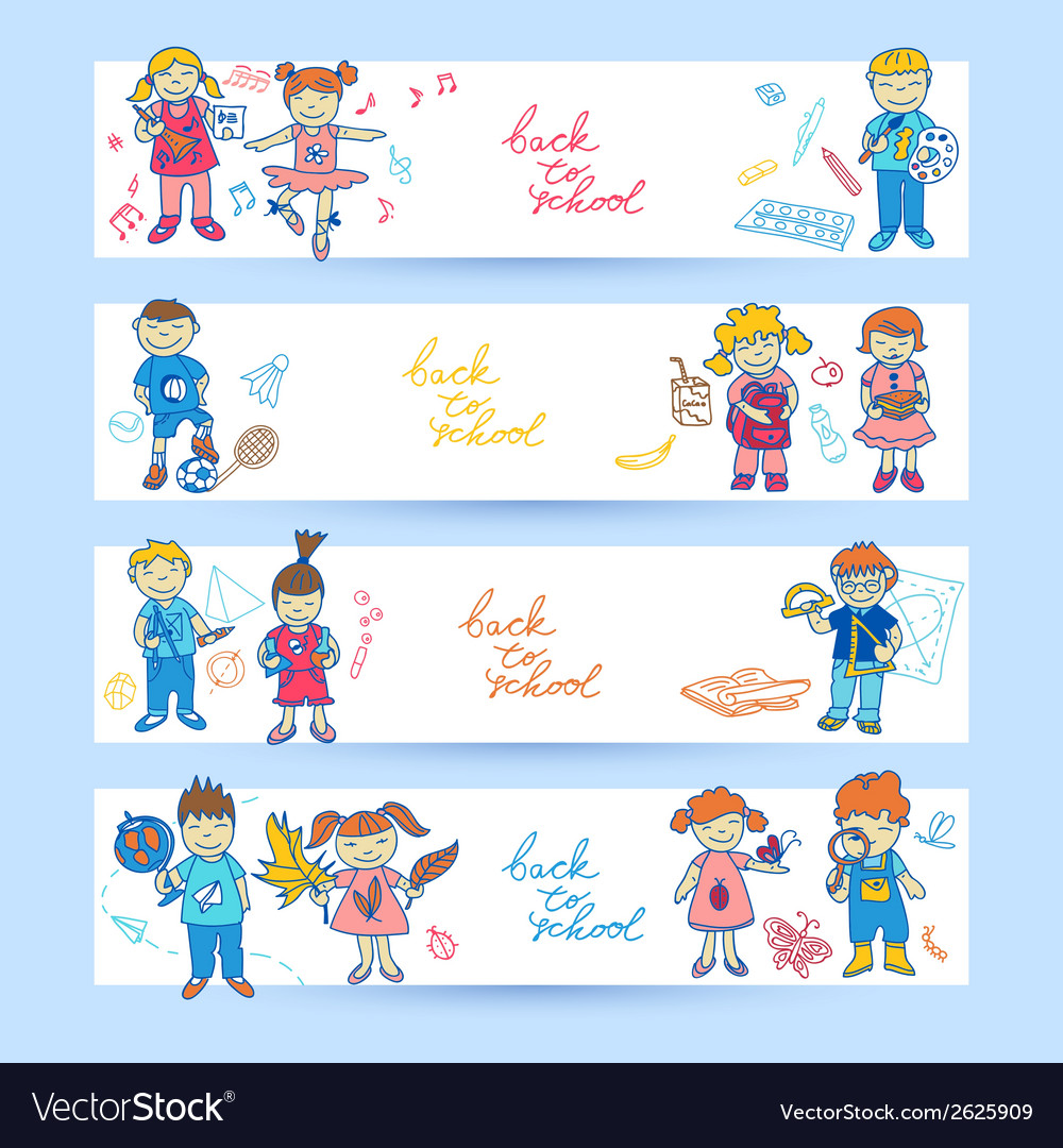 Set of banners with kids vector | Price: 1 Credit (USD $1)