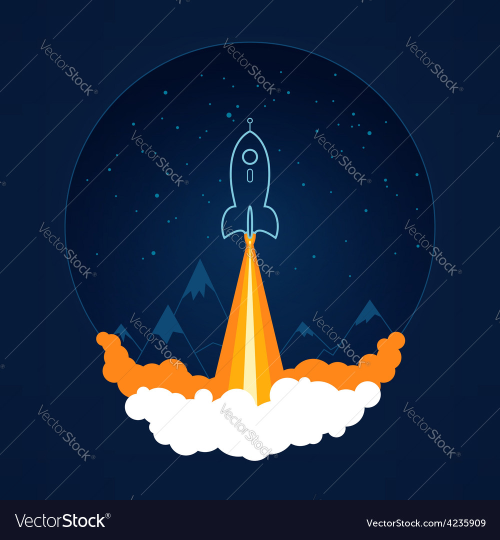 Space rocket flies into space vector | Price: 1 Credit (USD $1)