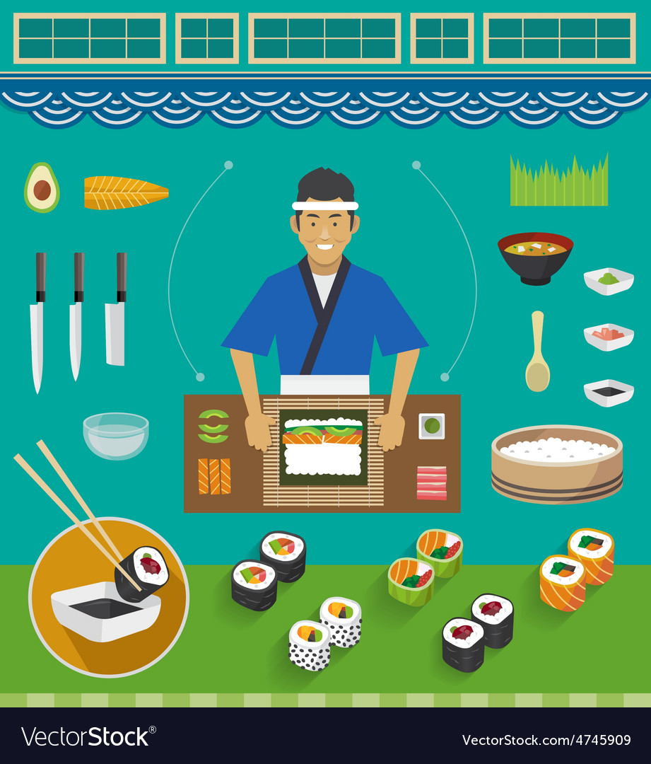 Sushi chef and cookware sets maki sushi vector | Price: 1 Credit (USD $1)