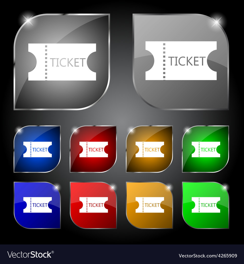 Ticket icon sign set of ten colorful buttons with vector | Price: 1 Credit (USD $1)
