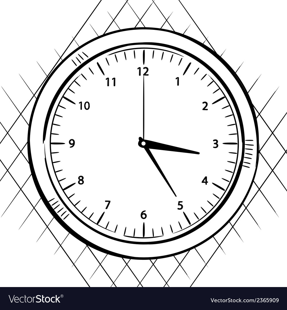 Wall clock sketch vector | Price: 1 Credit (USD $1)