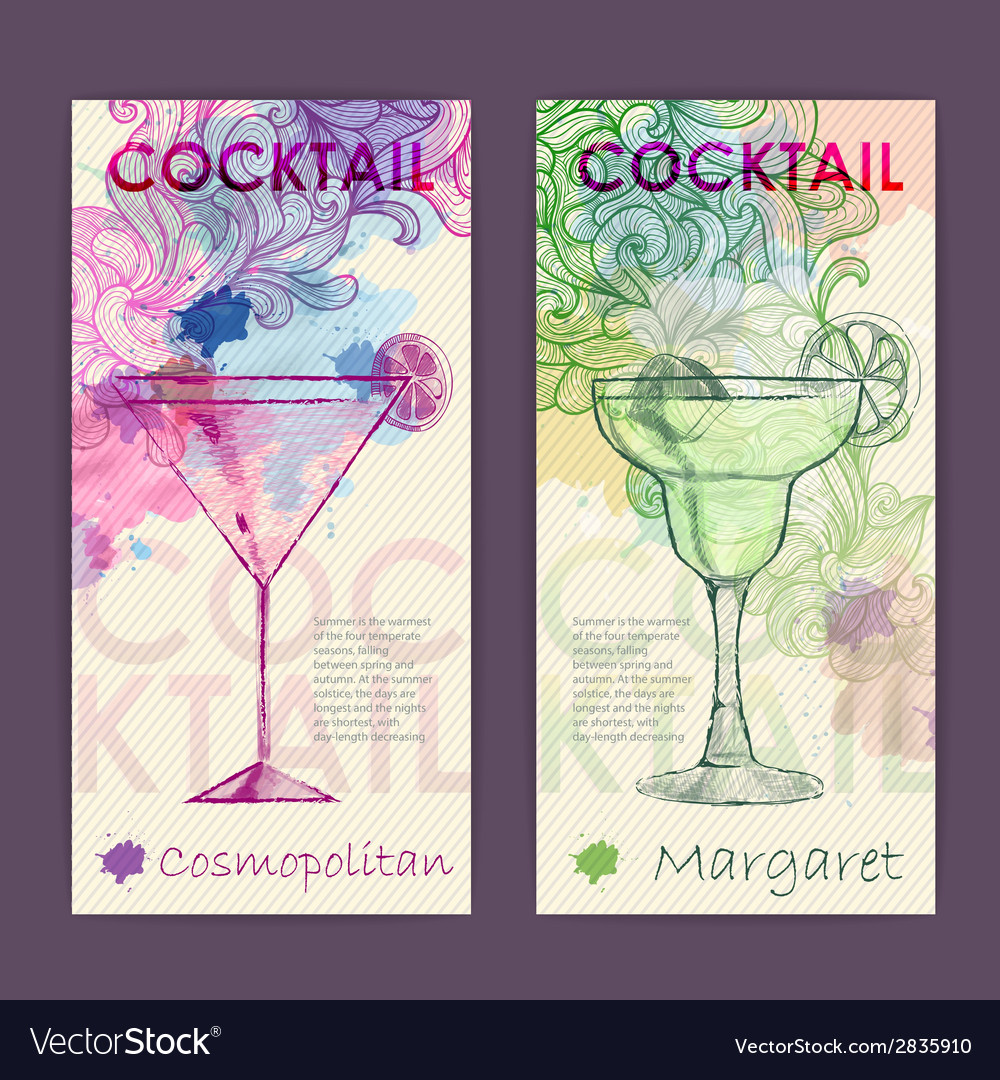 Artistic decorative watercolor cocktail poster vector | Price: 1 Credit (USD $1)