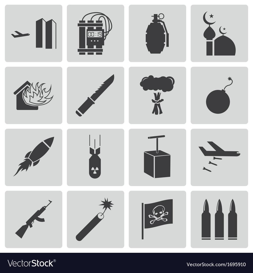 Black terrorism icons set vector | Price: 1 Credit (USD $1)