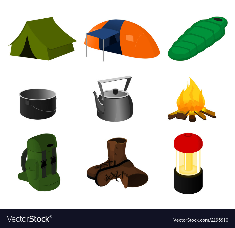 Collection of camping icons vector | Price: 1 Credit (USD $1)