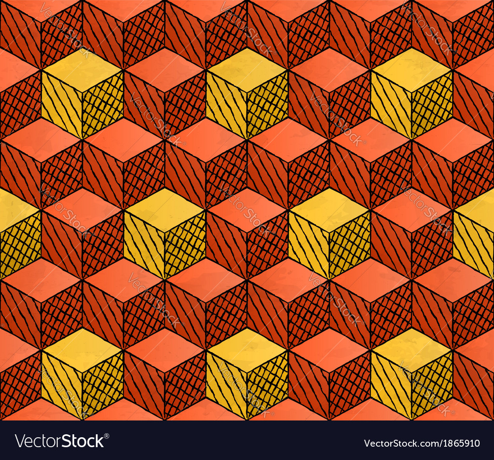 Colorful drawing styled cubes puzzle seamless vector | Price: 1 Credit (USD $1)