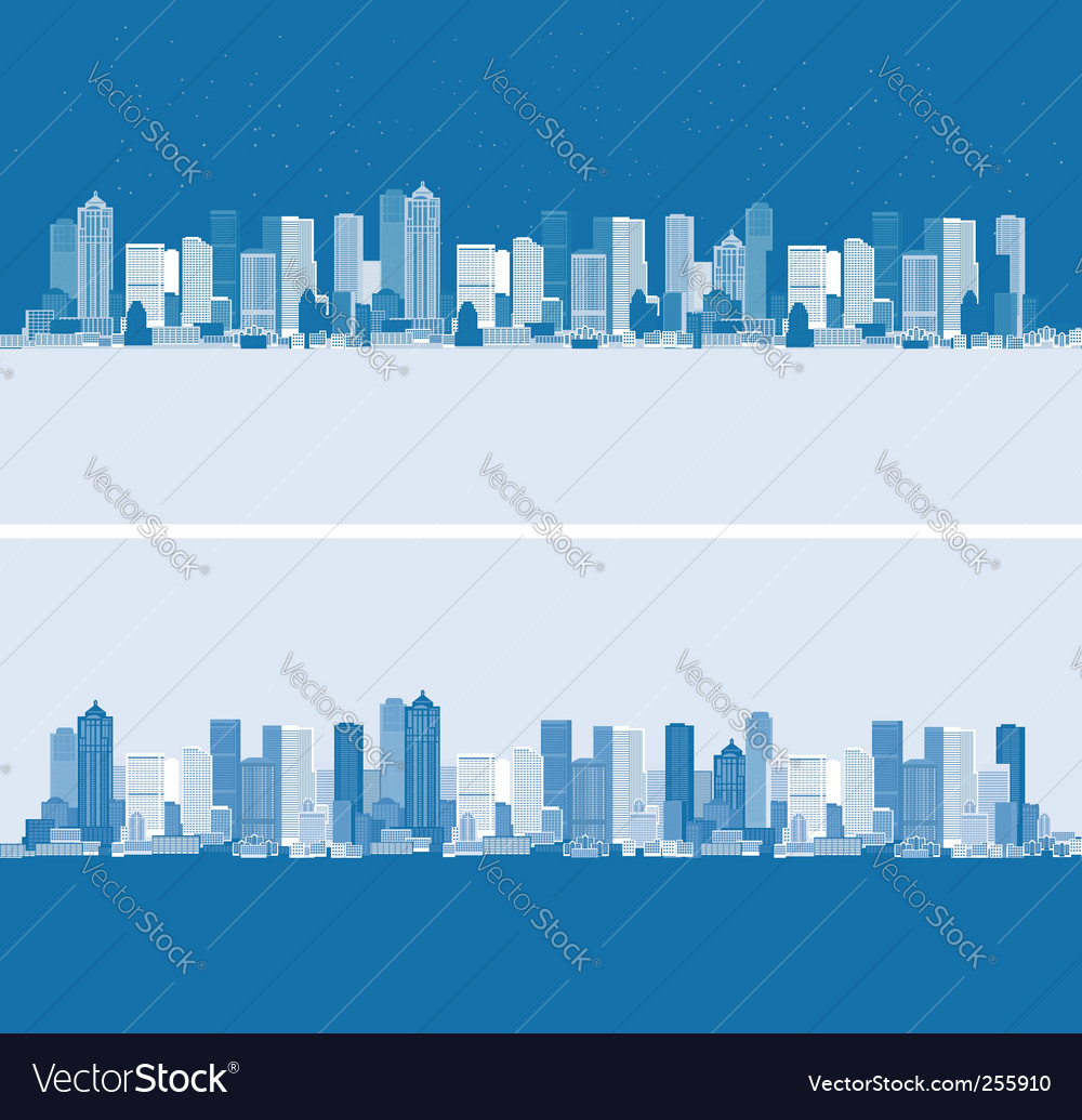 Day and night cityscape background vector | Price: 1 Credit (USD $1)