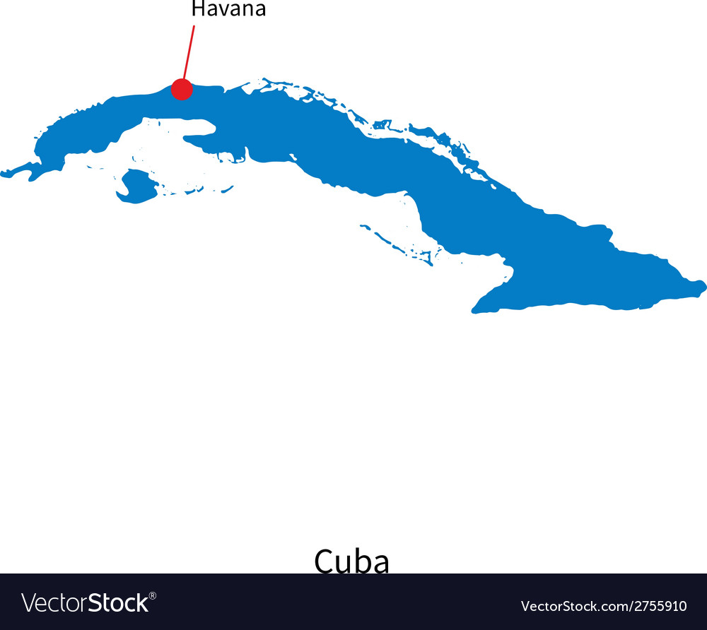 Detailed map of cuba and capital city havana vector   Price: 1 Credit (USD $1)