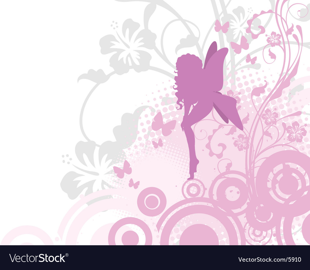 Fairy in pink garden vector | Price: 1 Credit (USD $1)