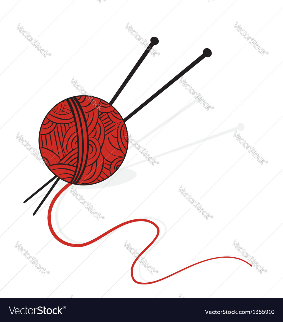 Knitting yarn and needles vector