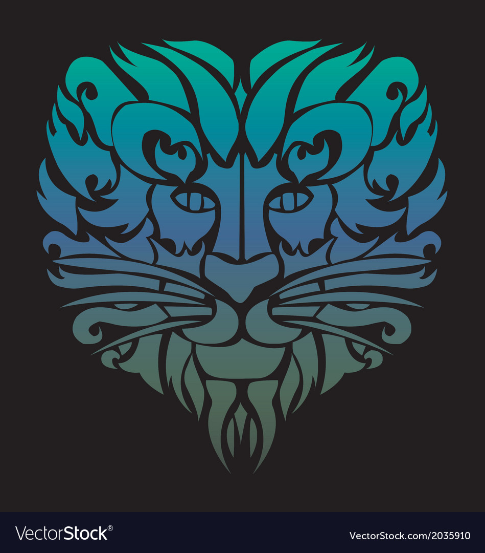 Lion face tattoo vector | Price: 1 Credit (USD $1)