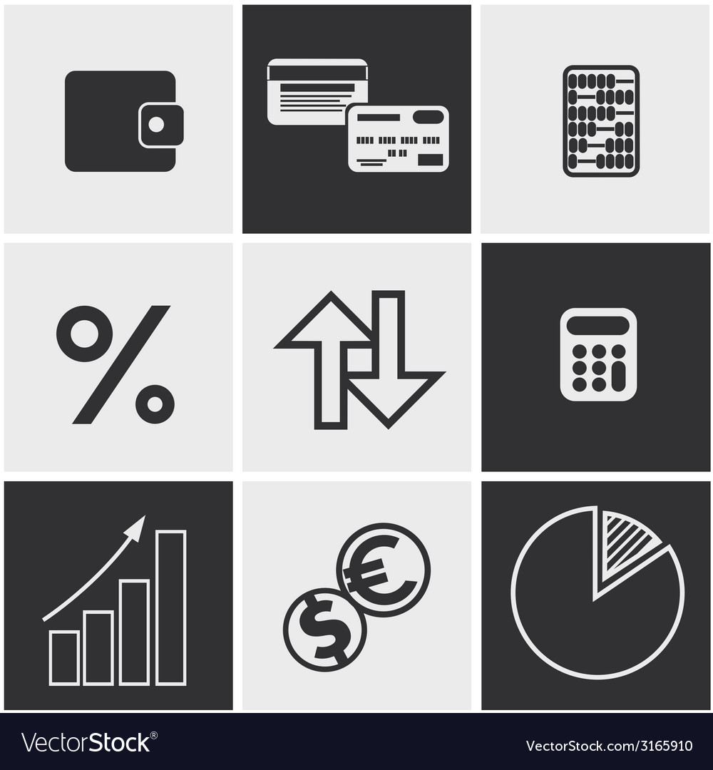 Money finance banking icons set vector | Price: 1 Credit (USD $1)