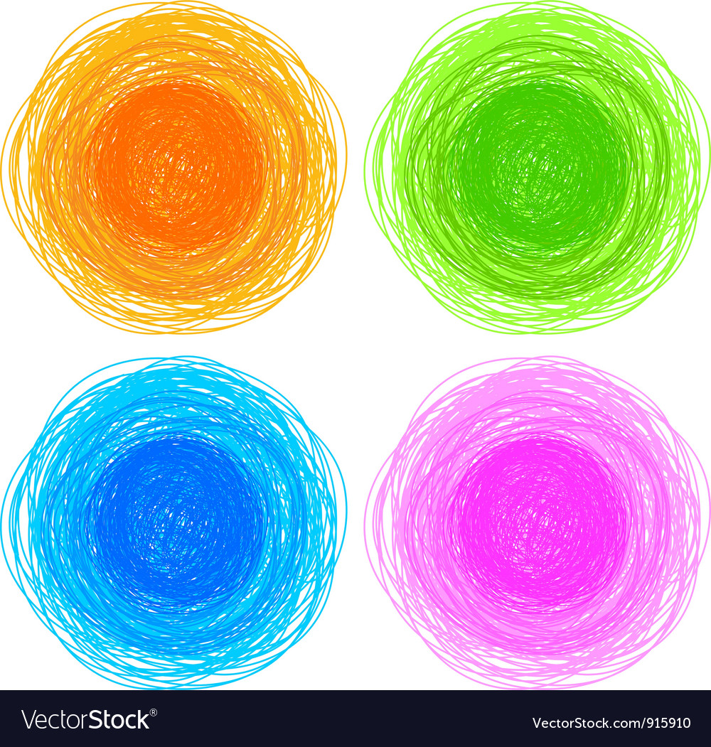 Pencil colorful hand drawn circles vector | Price: 1 Credit (USD $1)