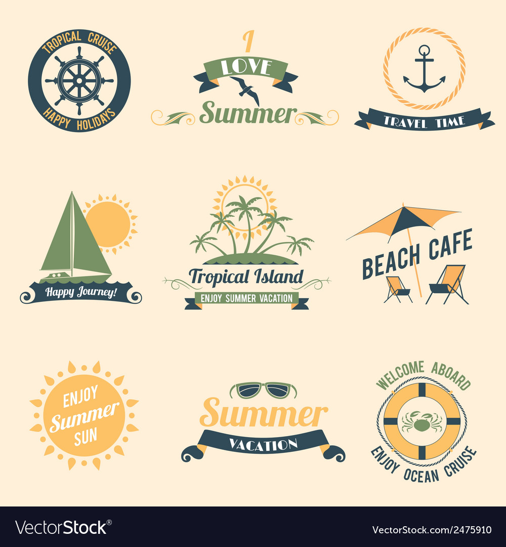 Summer sea retro labels vector | Price: 1 Credit (USD $1)
