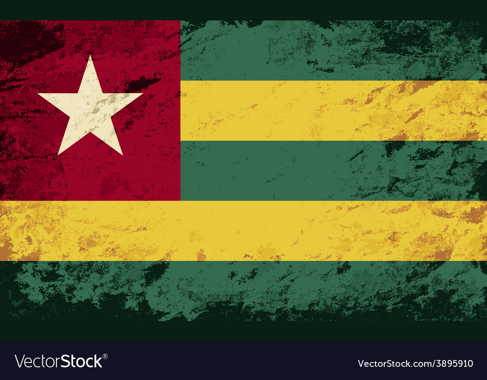 Togolese flag grunge background vector   Price: 1 Credit (USD $1)
