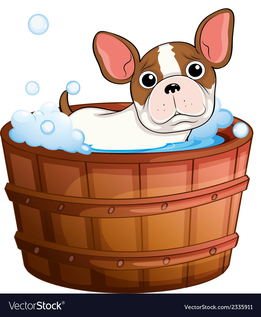 A cute little dog taking a bath vector | Price: 1 Credit (USD $1)