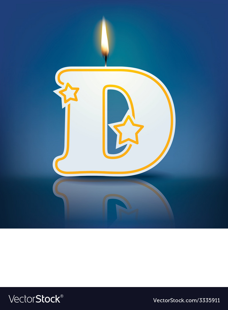Candle letter d with flame vector   Price: 1 Credit (USD $1)