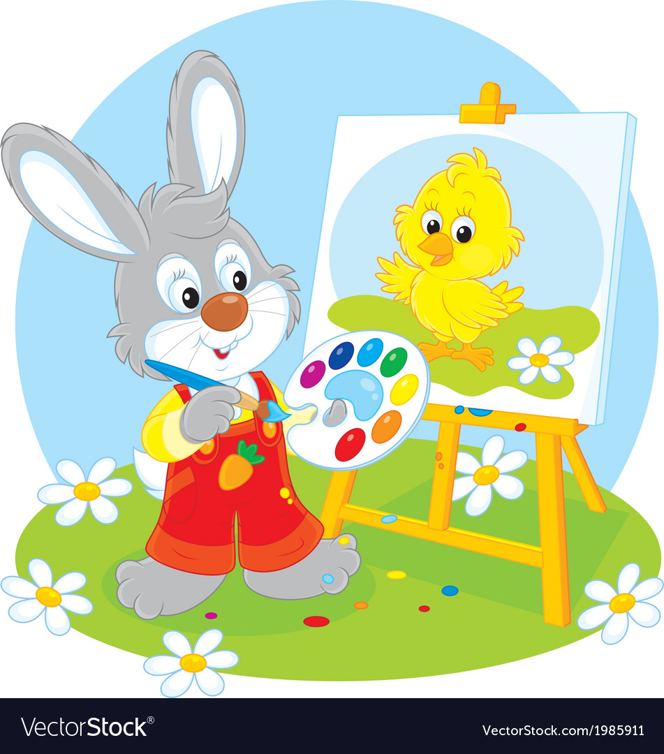 Easter bunny painter vector | Price: 1 Credit (USD $1)