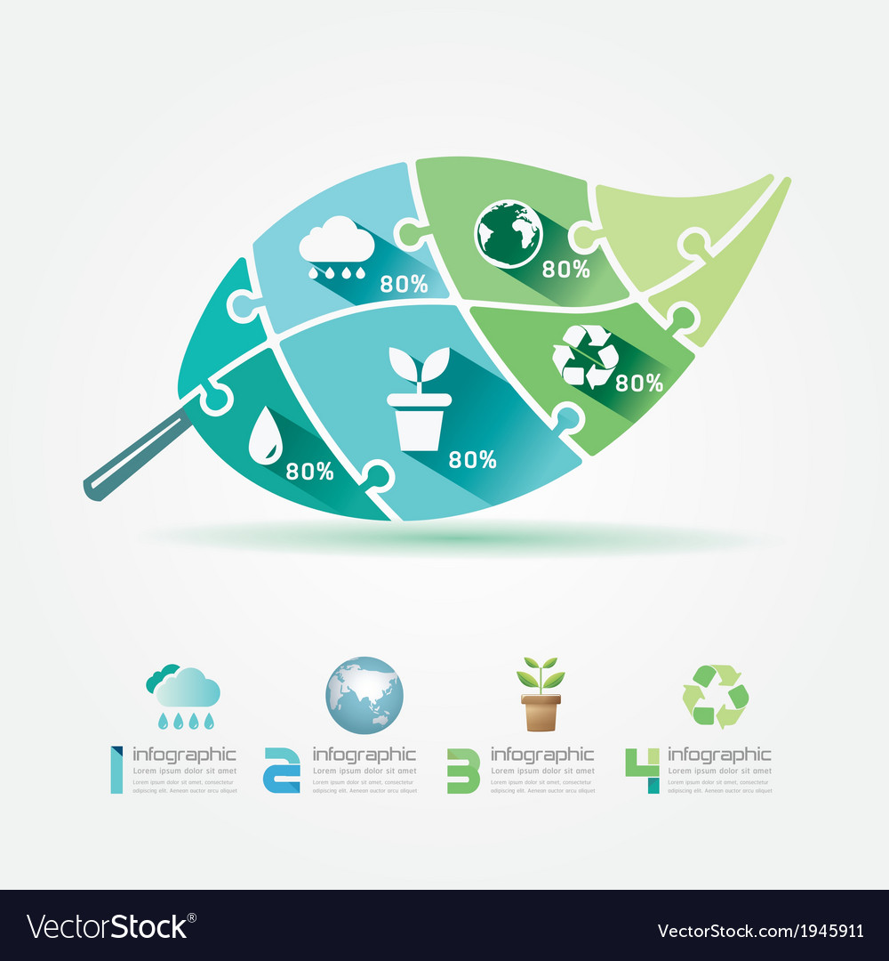 Green leaves design elements ecology infographic vector | Price: 1 Credit (USD $1)