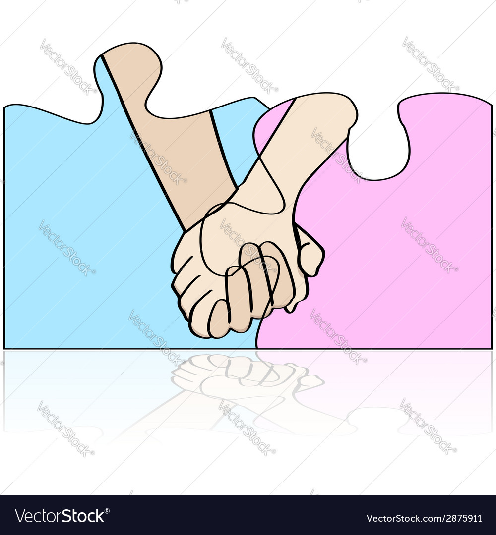 Hands in puzzle vector | Price: 1 Credit (USD $1)