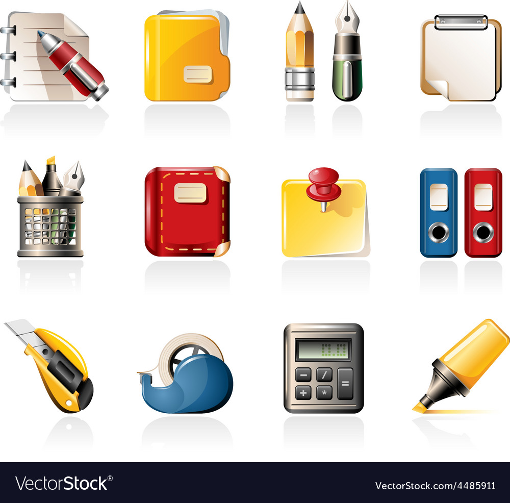 Office supply icons vector | Price: 3 Credit (USD $3)