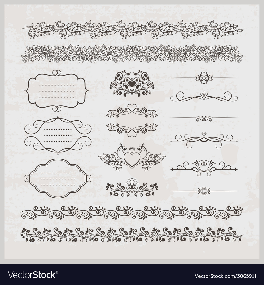 Page decoration borders frames and hearts vector | Price: 1 Credit (USD $1)