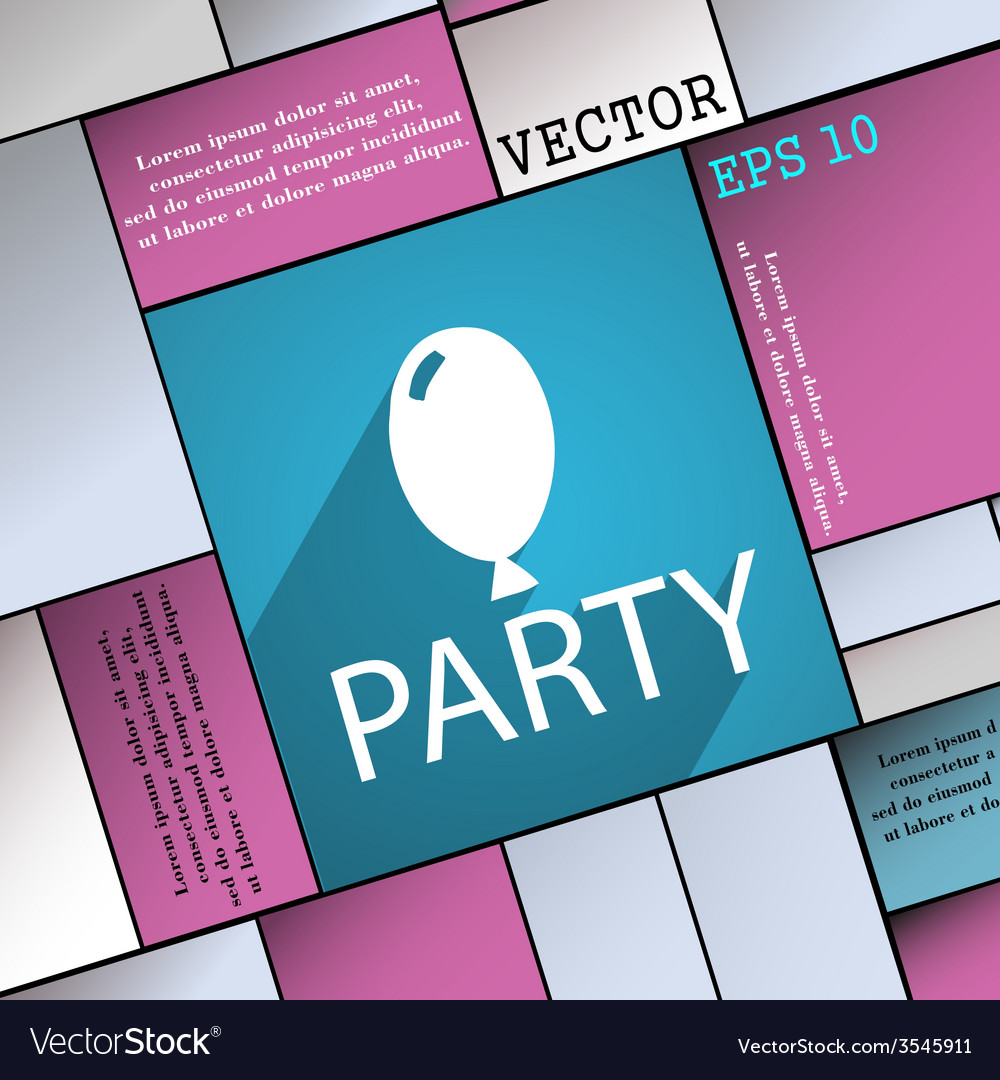 Party icon symbol flat modern web design with long vector | Price: 1 Credit (USD $1)