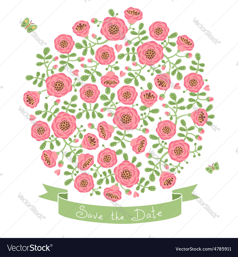 Save the date invitation with floral bouquet vector | Price: 1 Credit (USD $1)